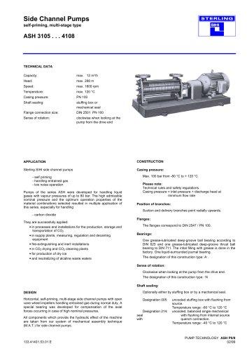 Side Channel Pumps Series ASH, 12 m³/h, 288 m, 120 °C
