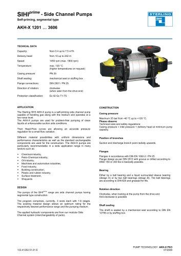 SIHIprime - Side Channel Pumps Self-priming, segmental type AKH-X 1201 … 3606
