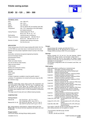 Volute casing pumps