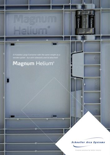 Magnum Helium / a Foldable Large Container with the same weight as a wooden pallet - but with sidewalls and lid attached!