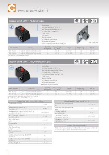 Pressure switch MDR 11