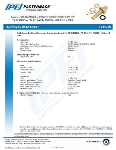 1.0/2.3 Jack Bulkhead Connector Solder Attachment For  PE-SR402AL, PE-SR402FL, RG402, .235 inch D Hole
