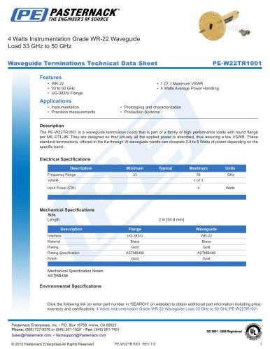 4 Watts Instrumentation Grade WR-22 Waveguide  Load 33 GHz to 50 GHz