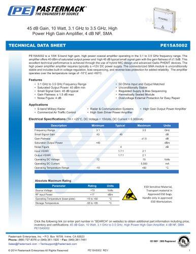 45 dB Gain, 10 Watt Psat, 3.1 GHz to 3.5 GHz, High Power High Gain Amplifier, 4 dB NF, SMA