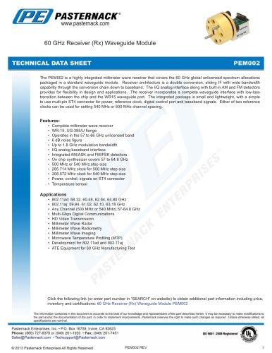 60 GHz Receiver (Rx) Waveguide Module