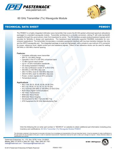 60 GHz Transmitter (Tx) Waveguide Module