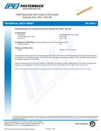 Field Replacable Tab Contact 0.02 Contact  Diameter And .005 x .020 Tab