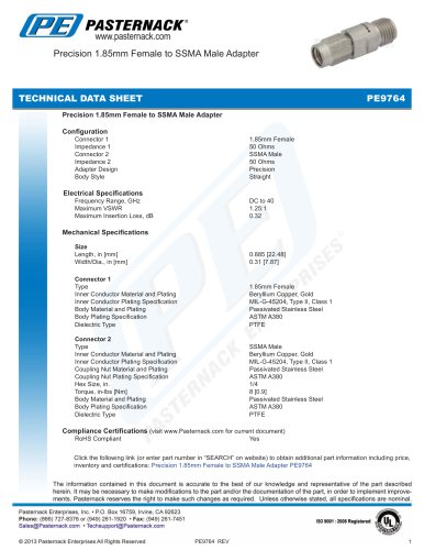 Precision 1.85mm Female to SSMA Male Adapter
