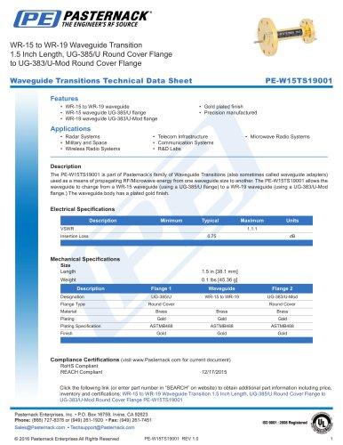 WR-15 to WR-19 Waveguide Transition  1.5 Inch Length, UG-385/U Round Cover Flange  to UG-383/U-Mod Round Cover Flange