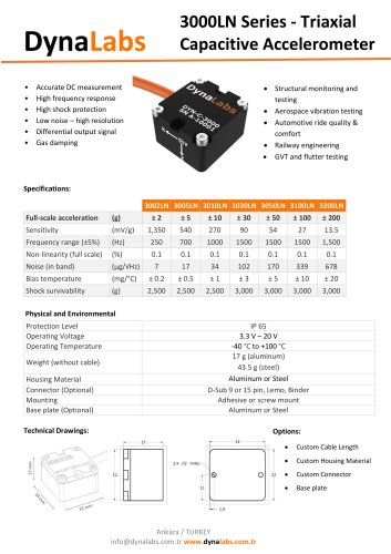 3000LN SERIES TRIAXIAL CAPACITIVE ACCELEROMETERS