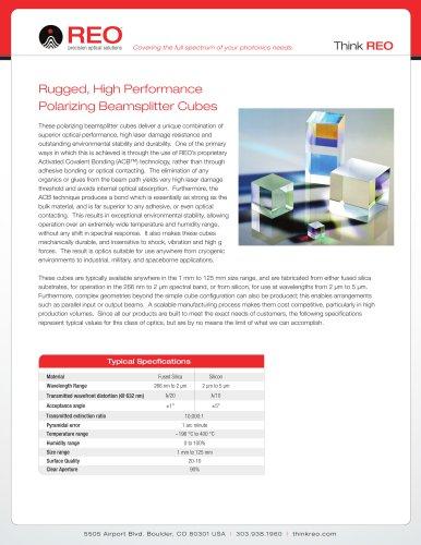 Rugged, High Performance Polarizing Beamsplitter Cubes