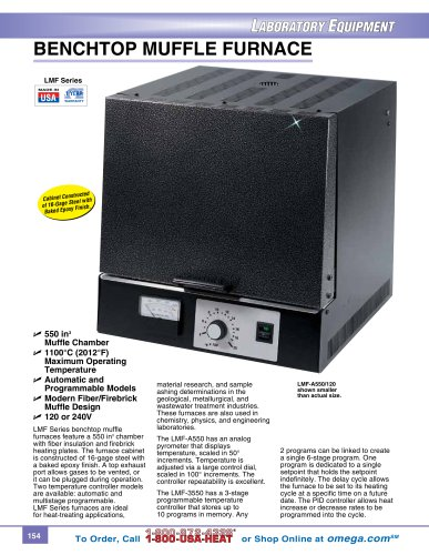 Benchtop Muffle Furnace with a 550 Cubic Inch Chamber LMF Series