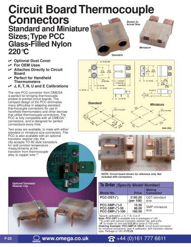 Circuit Board Thermocouple Connectors  PCC-OST-(*) and PCC-SMP-(*)