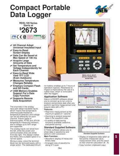 Compact Portable Data Logger  RDXL120 Series