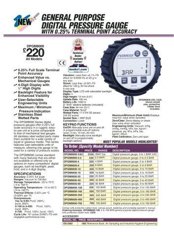 Digital Pressure Gauge DPG8000 and DPGM8000 Series