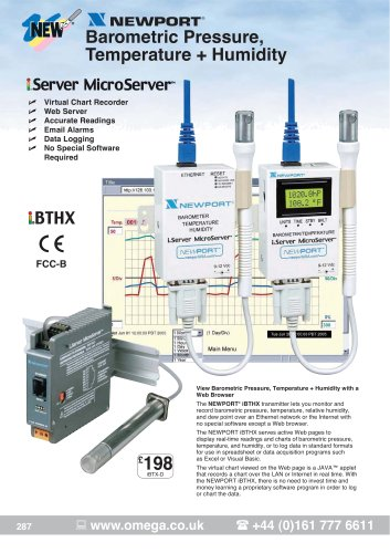Ethernet Transmitters for Barometric Pressure, Temperature, and Humidity   iBTX and iBTHX Series