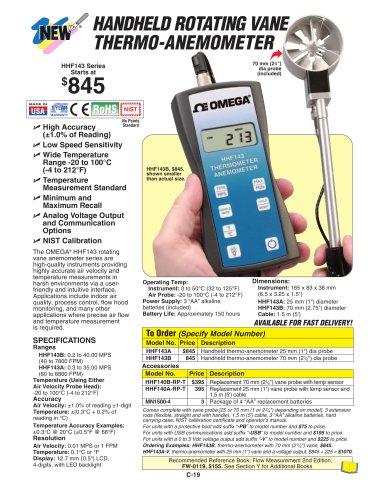 Handheld Rotating Vane Anemometer and Thermometer  HHF143 Series