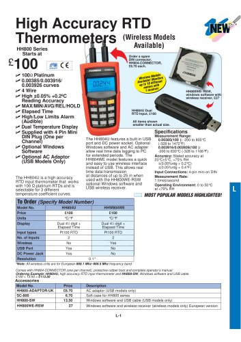 High Accuracy RTD Input Thermometers HH804