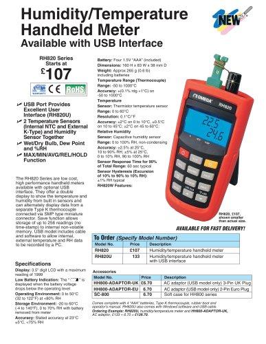 Humidity Temperature Handheld Meters   RH820 Series