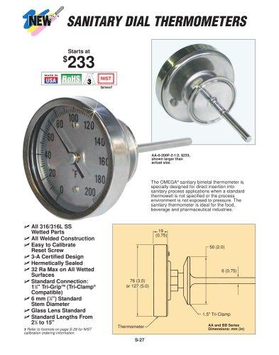Hygienic Bimetal Thermometers  AA, BB, JJ and LL Bimetal Thermometers
