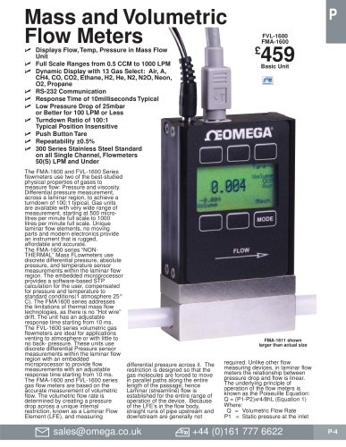 Mass and Volumetric Flow Meters   FVL-1600A & FMA-1600A