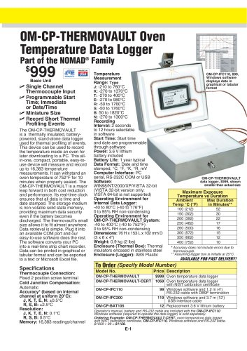 Oven Temperature Data Logger OM-CP-THERMOVAULT