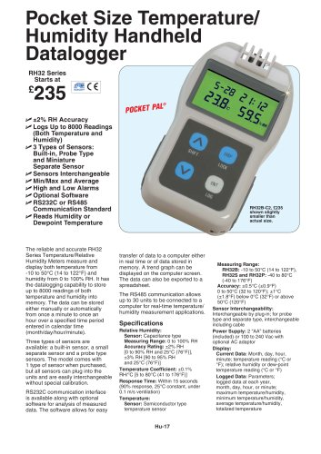 Pocket Size Temperature/Humidity Handheld Data Logger  RH32