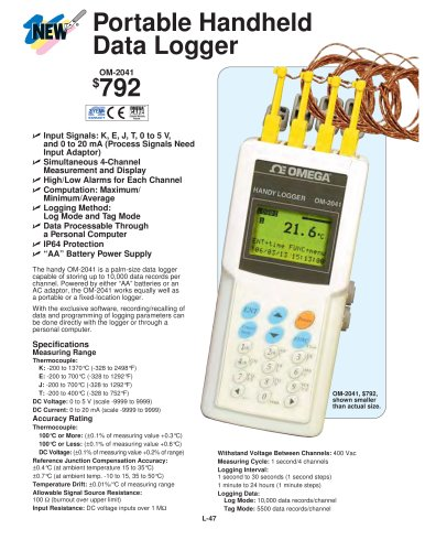 Portable Handheld Data Logger with USB or RS232 Interface