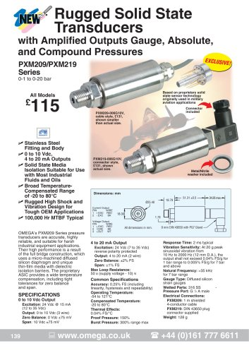 Pressure Transmitters   PXM209 and PXM219 Series