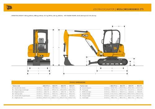 JCB MINI EXCAVATOR   8025LC/8025/8030/8035 ZTS