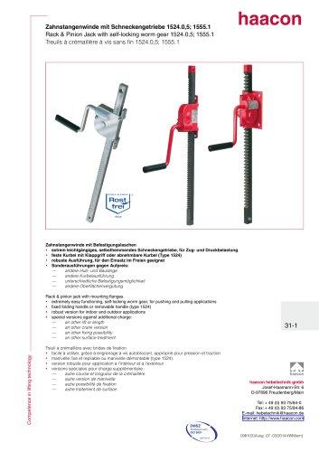 Rack & Pinion Jack with self-locking worm gear 1524.0,5; 1555.1