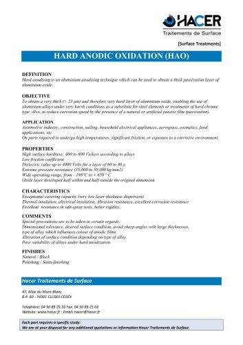 HARD ANODIC OXIDATION (HAO)