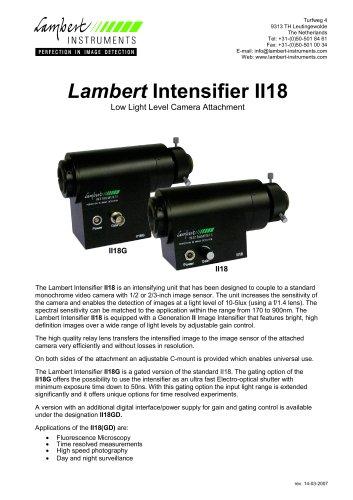 Lambert Intensifier II18 Low Light Level Camera Attachment