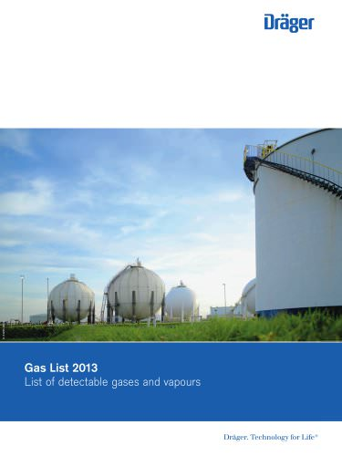 List of detectable gases and vapours