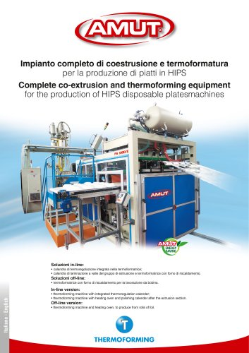 COMPLETE CO-EXTRUSION & THERMOFORMING EQUIPMENT FOR HIPS PLATES (SERIES PA)