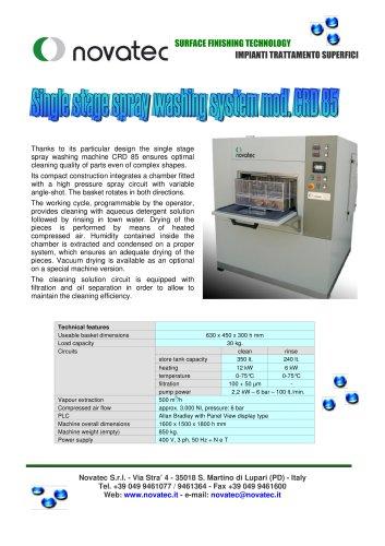 Single stage spray washing system mod. CRD 85