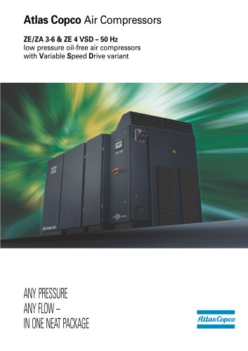 ZE/ZA 3-6 & ZE 4 VSD – 50 Hz low pressure oil-free air compressors with Variable Speed Drive variant