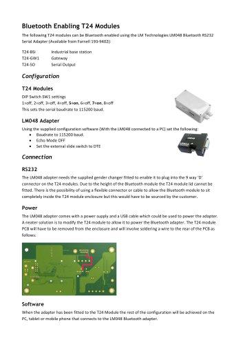 Bluetooth Enabling T24 Modules