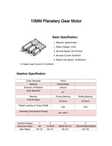 DC gear motor datesheet 10mm 5-1500rpm,0-10Nm,12v,24v,3v,9v