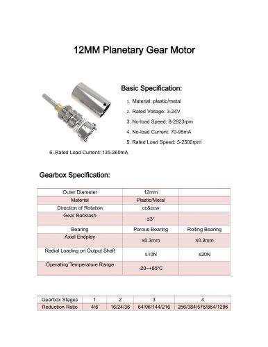 DC gear motor datesheet 12mm 5-1500rpm,0-10Nm,12v,24v,3v,9v