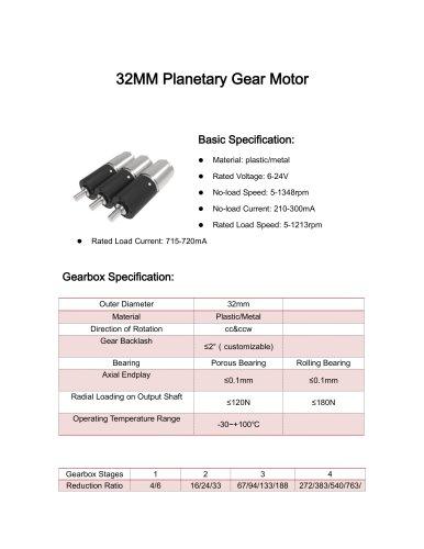 DC motor datesheet 32mm 5-1500rpm,0-10Nm,12v,24v,3v,9v