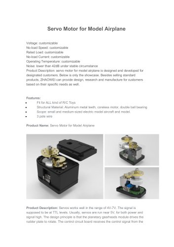 RC Servos Motor for Model Airplane,RC cars, boats, and other toys models