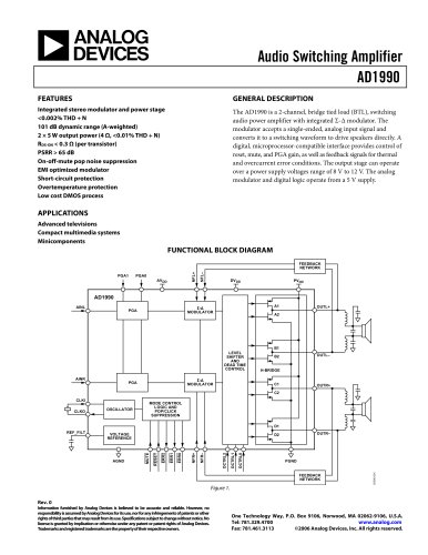AD1990:  Class-D Audio Power Amplifier – 2 × 5W