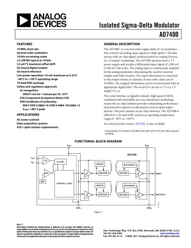 AD7400:  Isolated Sigma-Delta Modulator