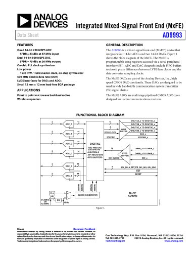AD9993: Integrated Mixed-Signal Front End (MxFE) Data Sheet