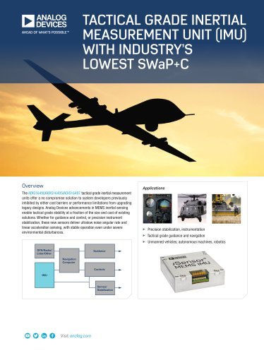 ADIS16490 / ADIS16495 / ADIS16497: Tactical Grade Inertial Measurement Unit (IMU) with Industry's Lowest SWaP+C