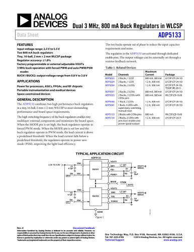 ADP5133: Dual 3 MHz, 800 mA Buck Regulators in WLCSP