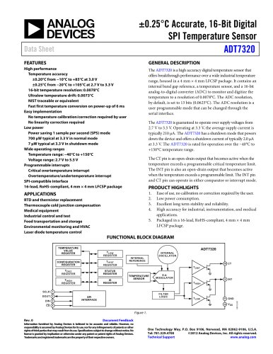ADT7320: ±0.25°C Accurate, 16-Bit Digital SPI Temperature Sensor Data Sheet
