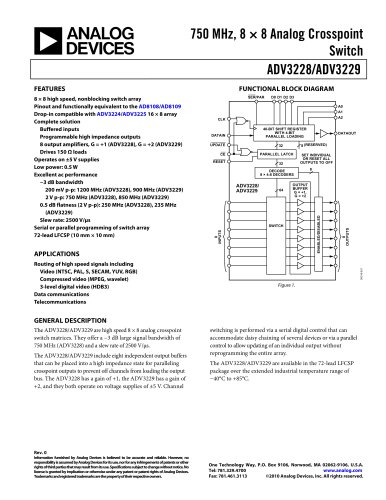 ADV3228/ADV3229: 750 MHz, 8 × 8 Analog Crosspoint Switch Data Sheet (Rev. 0)