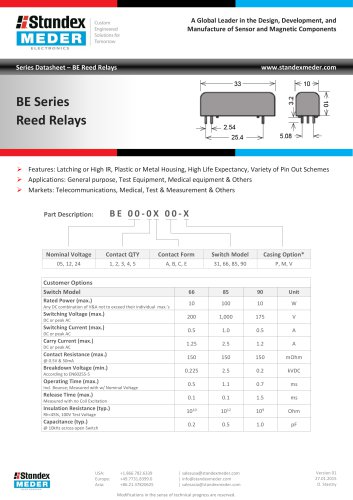 BE SERIES REED RELAY